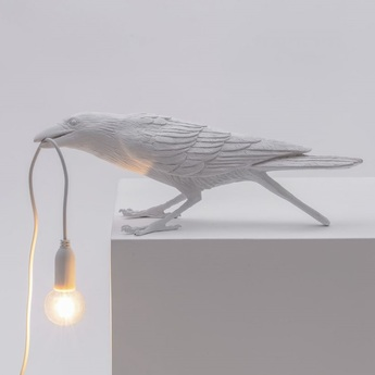 Lampe a poser bird corbeau playing blanc 2200k 120lm l33 5cm h10 5cm seletti normal