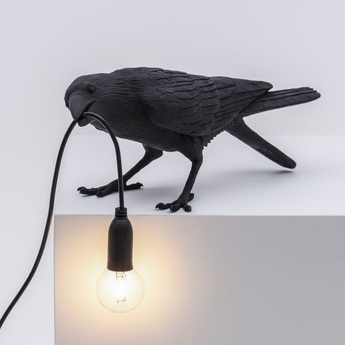 Lampe a poser bird corbeau playing noir 2200k 120lm l33 5cm h10 5cm seletti normal