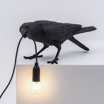 Lampe a poser bird corbeau playing noir 2200k 120lm l33 5cm h10 5cm seletti normal