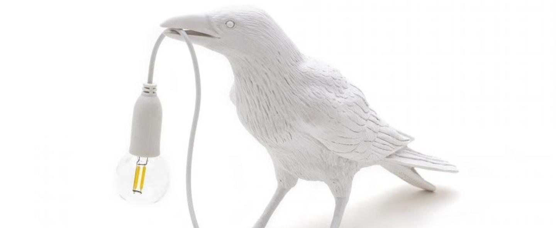 Lampe a poser bird corbeau waiting blanc 2200k 120lm l29 5cm h18 5cm seletti normal