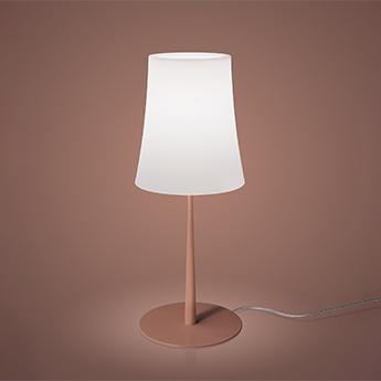 Lampe a poser birdie easy grande blanc et rouge brique o25cm h62cm foscarini normal