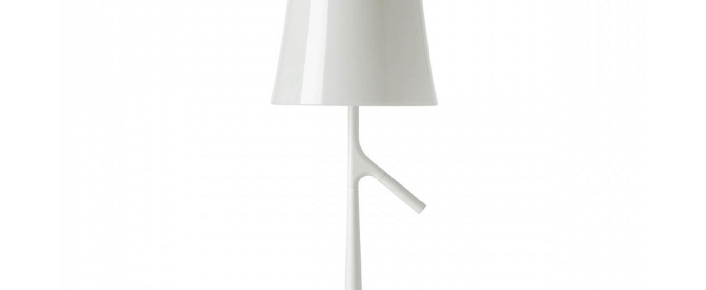 Lampe a poser birdie grande blanc l25cm h70cm foscarini normal