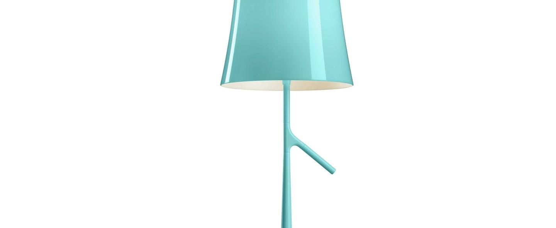 Lampe a poser birdie grande bleu l25cm h70cm foscarini normal
