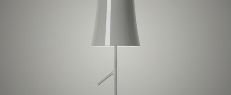 Lampe a poser birdie grande gris l25cm h70cm foscarini normal