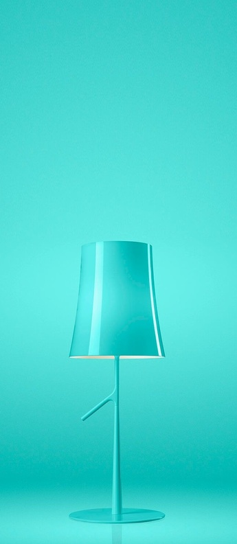 Lampe a poser birdie piccola bleu l19cm h49cm foscarini normal