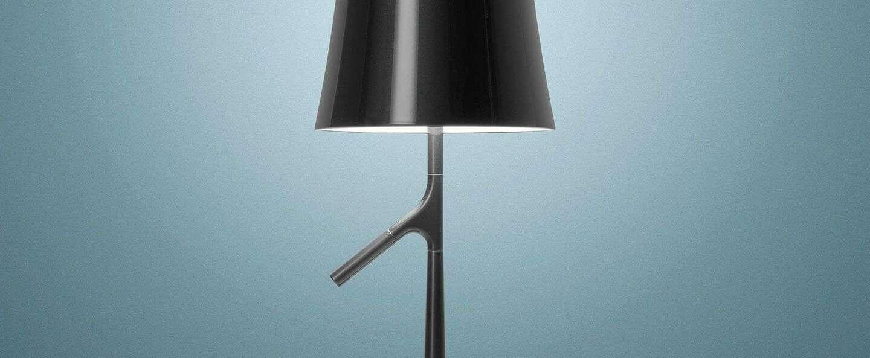 Lampe a poser birdie piccola graphite l19cm h49cm foscarini normal