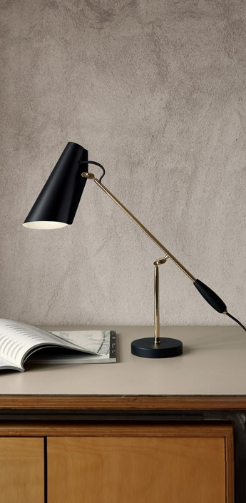 Lampe a poser birdy noir laiton h43cm northern lighting normal