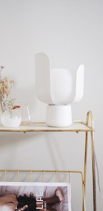 Lampe a poser blom blanc h24cm fontanaarte normal