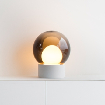 lampe poser boule small verre fum gris h35 5cm pulpo luminaires nedgis. Black Bedroom Furniture Sets. Home Design Ideas