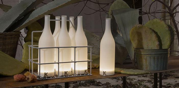 Lampe a poser bouteille bacco blanc led o9cm h34cm karman normal