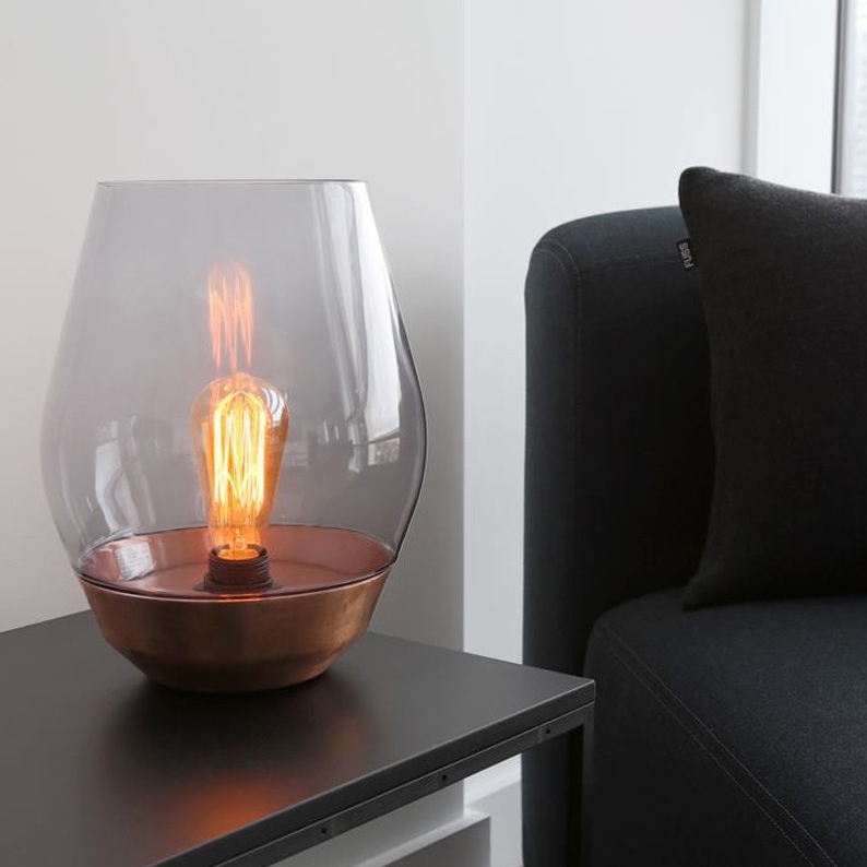 lampe poser bowl copper smoked glass cuivre h30cm 25cm new works luminaires nedgis. Black Bedroom Furniture Sets. Home Design Ideas