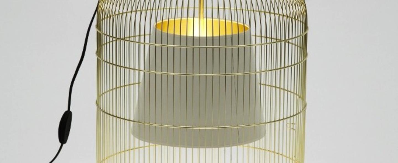 Lampe a poser cage sunset laiton et blanc h55cm o39cm ascete normal