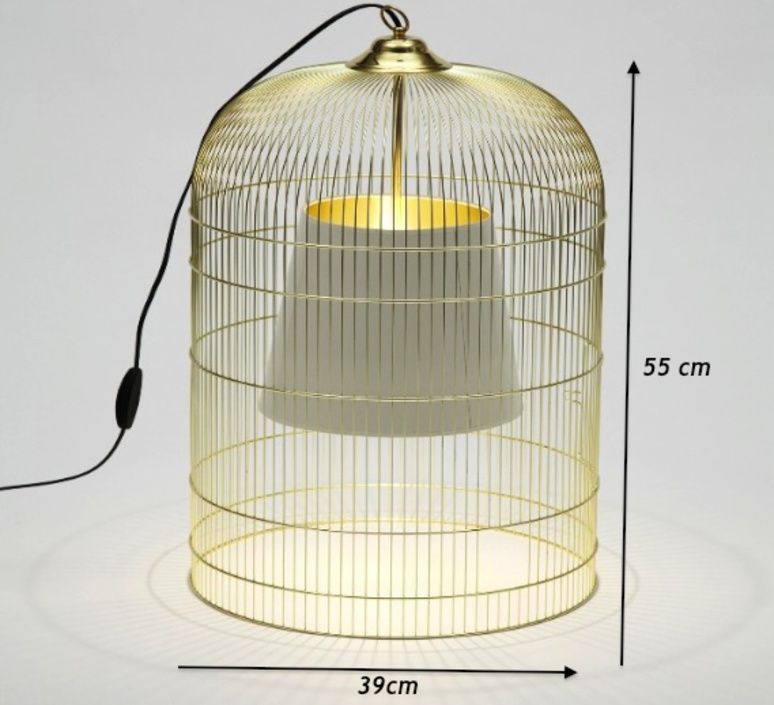 table lamp cage sunset brass white h55cm 39cm ascete nedgis lighting. Black Bedroom Furniture Sets. Home Design Ideas