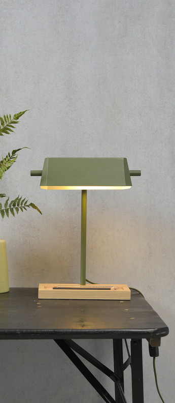 Lampe a poser cambridge gris vert l25cm h40cm it s about romi normal