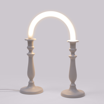 Lampe a poser candle twin blanc led l31cm h39cm seletti normal