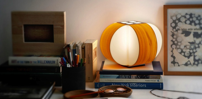 Lampe a poser carambola m orange led o30cm h22cm lzf normal