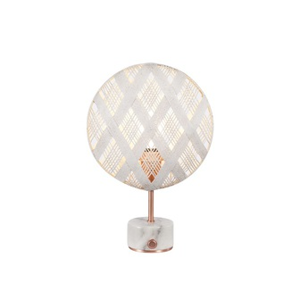 Lampe a poser chanpen diamond s blanc cuivre o26cm h41cm forestier normal