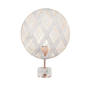 Lampe a poser chanpen diamond s blanc cuivre o36cm h46cm forestier normal