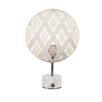 Lampe a poser chanpen diamond s blanc gris o26cm h41cm forestier normal