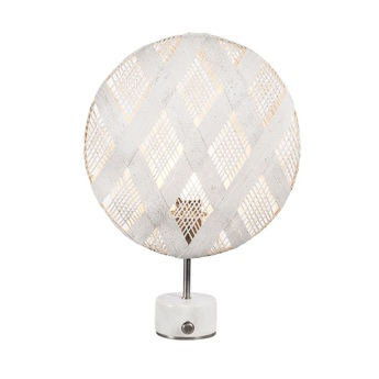 Lampe a poser chanpen diamond s blanc gris o36cm h46cm forestier normal
