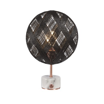 Lampe a poser chanpen diamond s noir cuivre o26cm h41cm forestier normal