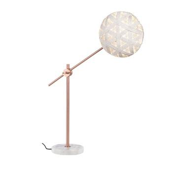 Lampe a poser chanpen hexagonal m blanc cuivre o26cm h80cm forestier normal