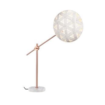 Lampe a poser chanpen hexagonal m blanc cuivre o36cm h85cm forestier normal