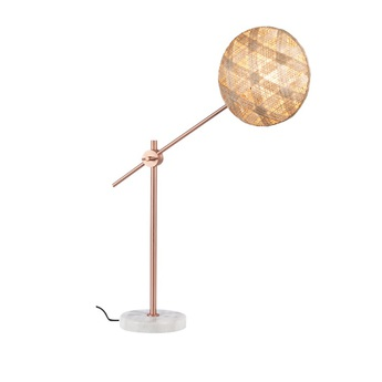 Lampe a poser chanpen hexagonal m naturel cuivre o26cm h80cm forestier normal