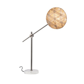 Lampe a poser chanpen hexagonal m naturel gris o26cm h80cm forestier normal