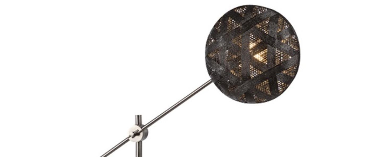 Lampe a poser chanpen hexagonal m noir gris o36cm h85cm forestier normal