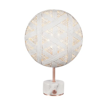 Lampe a poser chanpen hexagonal s blanc cuivre o26cm h41cm forestier normal