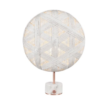 Lampe a poser chanpen hexagonal s blanc cuivre o36cm h46cm forestier normal