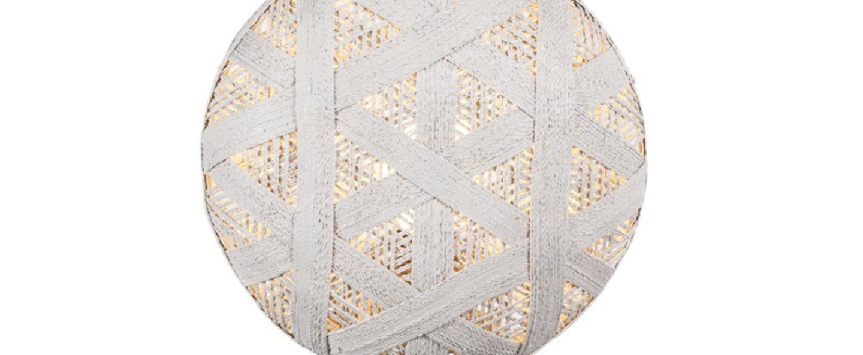 Lampe a poser chanpen hexagonal s blanc gris o26cm h41cm forestier normal