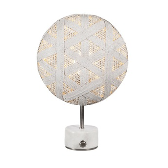 Lampe a poser chanpen hexagonal s blanc gris o36cm h46cm forestier normal
