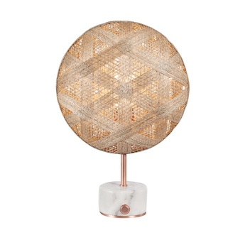 Lampe a poser chanpen hexagonal s naturel cuivre o26cm h41cm forestier normal