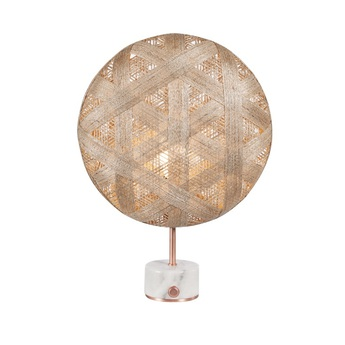 Lampe a poser chanpen hexagonal s naturel cuivre o36cm h46cm forestier normal