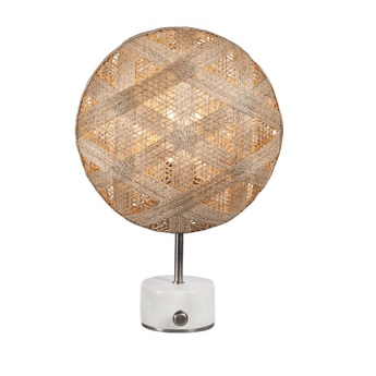Lampe a poser chanpen hexagonal s naturel gris o36cm h46cm forestier normal
