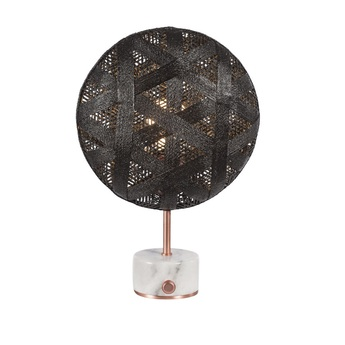 Lampe a poser chanpen hexagonal s noir cuivre o26cm h41cm forestier normal