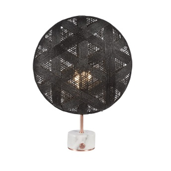Lampe a poser chanpen hexagonal s noir cuivre o36cm h46cm forestier normal