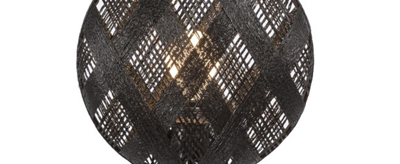 Lampe a poser chanpen hexagonal s noir gris o26cm h41cm forestier normal