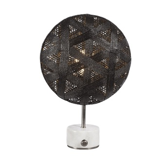 Lampe a poser chanpen hexagonal s noir gris o26cm h41cm forestier normal