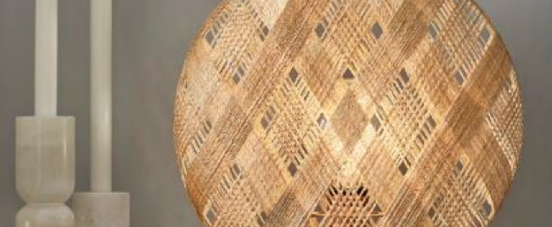 Lampe a poser chanpen s diamond natural o 36cm copper beige h36cm forestier normal