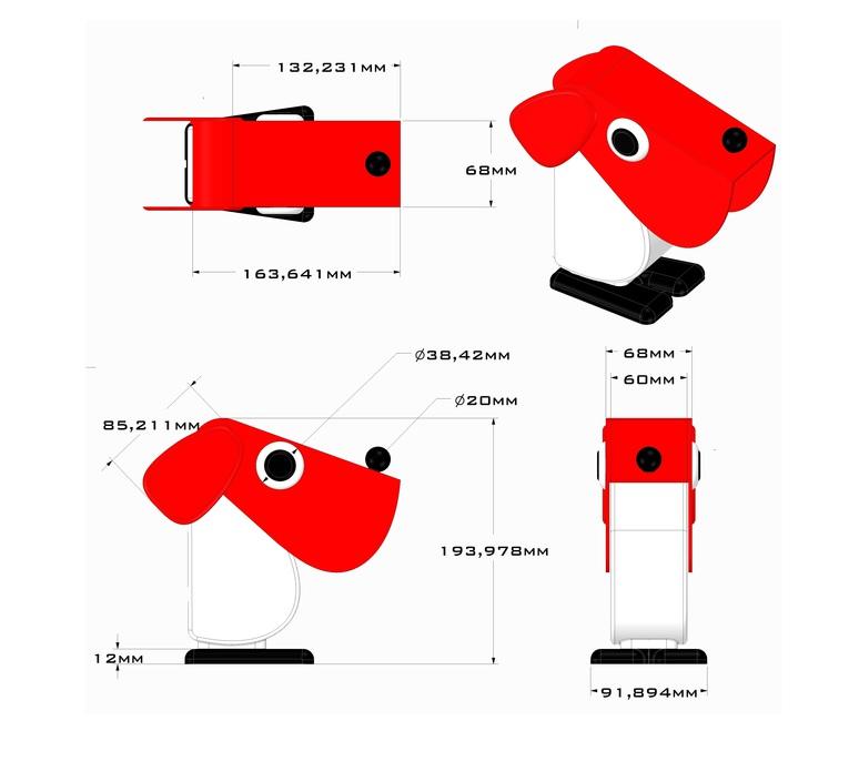 Chien cassetta fernando cassetta cassetta chien rouge luminaire lighting design signed 31339 product