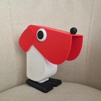 Lampe a poser chien cassetta rouge blanc h19 5cm l18cm camtecs engenering normal
