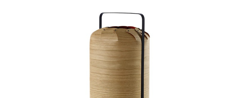 Lampe a poser chou mpa bois de cerisier naturel led h40cm o21 5cm lzf normal