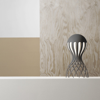Lampe a poser cirrata gris led o22cm h44cm oblure normal