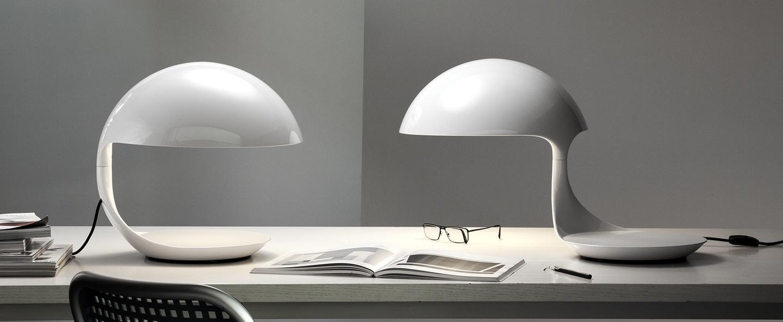 Lampe a poser cobra blanc h40cm martinelli luce normal