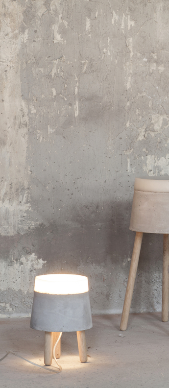 Lampe a poser concrete gris blanc led o18cm h24cm serax normal