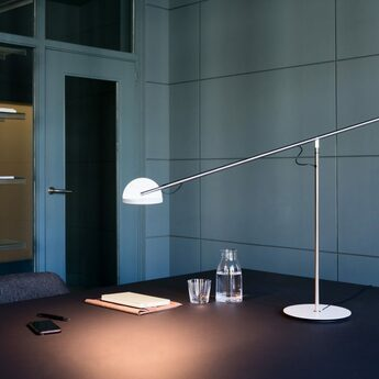 Lampe a poser copernica m nickel satine graphite blanc led 2700k 427lm dimmable l106cm h60 3cm marset normal
