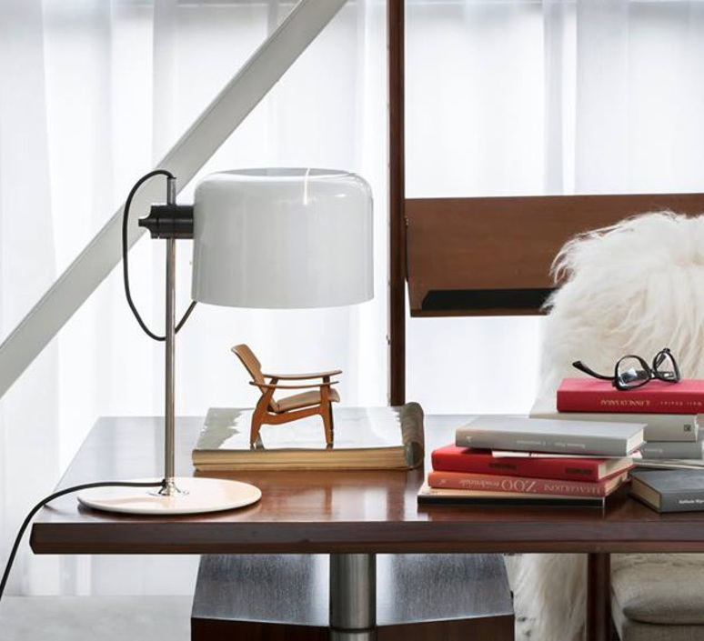 Coupe joe colombo oluce 2202 blanc luminaire lighting design signed 22464 product